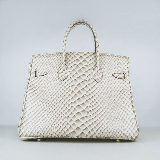 Hermes Handbags Birkin 35CM H6089 Off-white Fish Stripe Leather Gold Hardware Bag - Click Image to Close