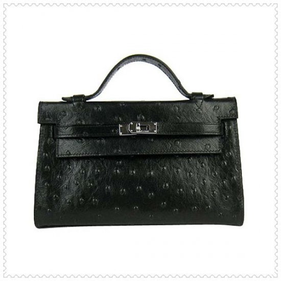 Hermes Handbags Kelly 22CM Black Ostrich Stripe Leather Silver Hardware Bag - Click Image to Close