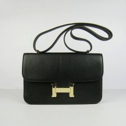 Hermes Handbags Constance Black Cowhide Leather Gold Hardware Bag