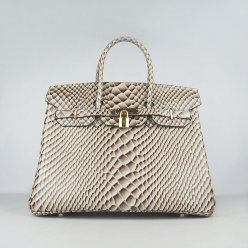 Hermes Handbags Birkin 35CM H6089 Grey Fish Stripe Leather Gold Hardware Bag