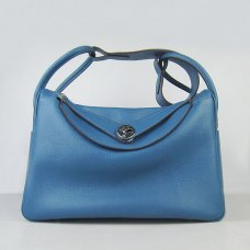 Hermes Handbags Lindy Blue Cowskin Leather Silver Hardware Bag