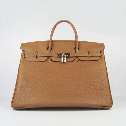 Hermes Handbags Birkin 40CM H6099 Light Brown Cowhide Leather Gold Hardware Bag
