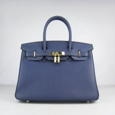 Hermes Handbags Birkin 30 CM Dark Blue Lichee Pattern Bag
