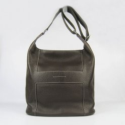 Hermes Handbags Picotin H2801 Dark Brown Cowskin Leather Silver Hardware Bag