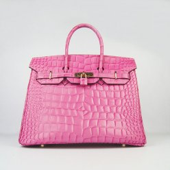 Hermes Handbags Birkin 35 CM Peach Crocodile Stripe Bag