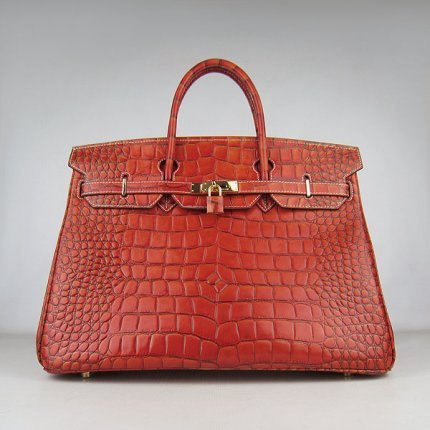 Hermes Handbags Birkin 40CM H6099 Dark Orange Crocodile Stripe Leather Gold Hardware Bag
