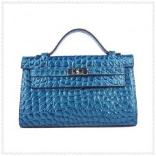 Hermes Handbags Kelly 22CM Blue Fish Stripe Leather Silver Hardware Bag