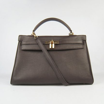 Hermes Handbags Kelly 35 CM Dark Brown Cowskin Leather Gold Hardware Bag
