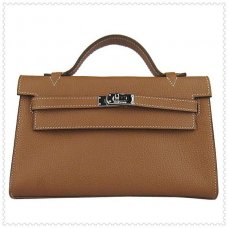 Hermes Handbags Kelly 22CM Light Brown Lichee Stripe Leather Silver Hardware Bag