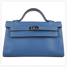 Hermes Handbags Kelly 22CM Blue Lichee Stripe Leather Silver Hardware Bag