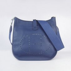 Hermes Handbags Evelyne III Dark Blue Cowskin Leather Silver Hardware Bag