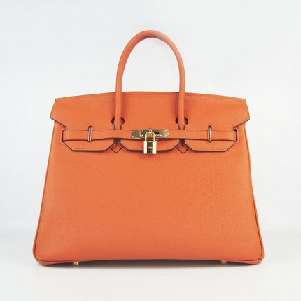 Hermes Handbags Birkin 35 CM Orange Cow Neck Leather Bag