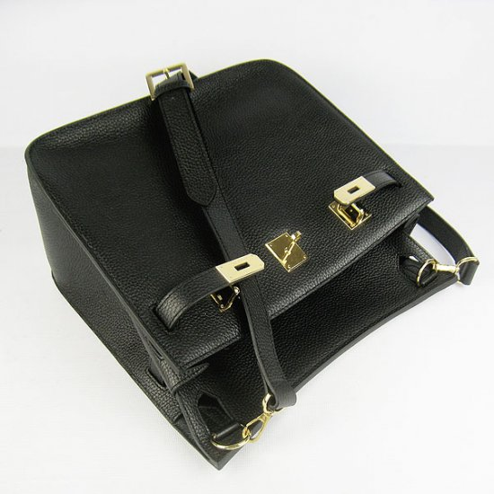 Hermes Handbags Jypsiere Black Cowskin Leather Gold Hardware Bag - Click Image to Close