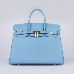 Hermes Handbags Birkin 35 CM Light Blue Cow Neck Leather Bag
