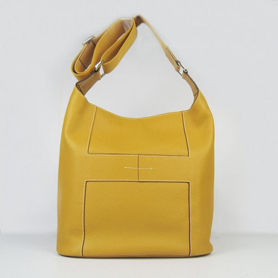 Hermes Handbags Picotin H2801 Yellow Cowskin Leather Silver Hardware Bag - Click Image to Close