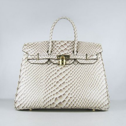 Hermes Handbags Birkin 35CM H6089 Off-white Fish Stripe Leather Gold Hardware Bag