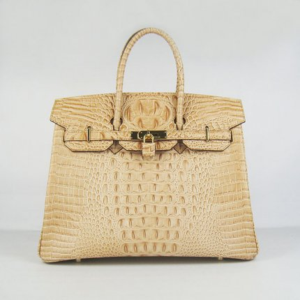 Hermes Handbags Birkin 35 CM Khaki Crocodile Scalp Bag