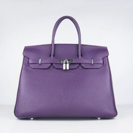 Hermes Handbags Birkin 35 CM Purple Cow Neck Leather Bag