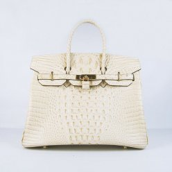 Hermes Handbags Birkin 35 CM Off White Crocodile Scalp Bag