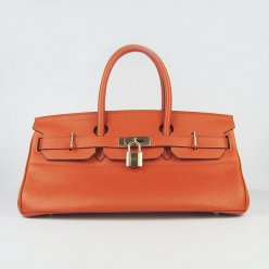 Hermes Handbags Birkin 42 CM Orange Cowhide Leather Gold Hardware Bag