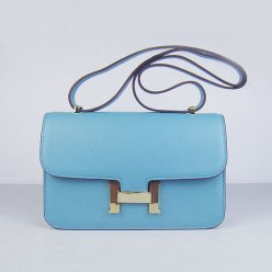 Hermes Handbags Constance Light Blue Cowskin Leather Gold Hardware Bag
