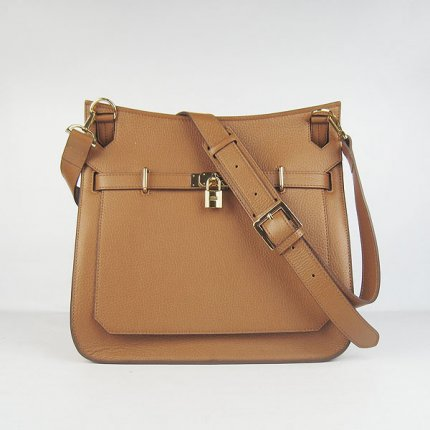 Hermes Handbags Jypsiere Brown Cowskin Leather Gold Hardware Bag