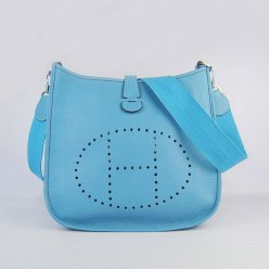 Hermes Handbags Evelyne III Light Blue Cowskin Leather Silver Hardware Bag