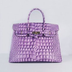 Hermes Handbags Birkin 35 CM Purple Crocodile Stripe Bag