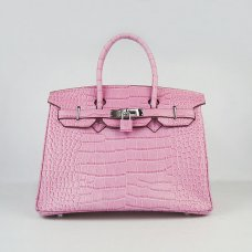 Hermes Handbags Birkin 30 CM Pink Crocodile Bag