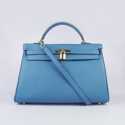 Hermes Handbags Kelly 35 CM Blue Cowskin Leather Gold Hardware Bag