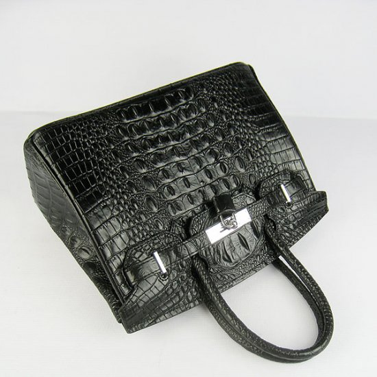 Hermes Handbags Birkin 30 CM Black Crocodile Scalp Bag - Click Image to Close