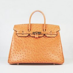Hermes Handbags Birkin 35 CM Orange Ostrich Stripe Bag