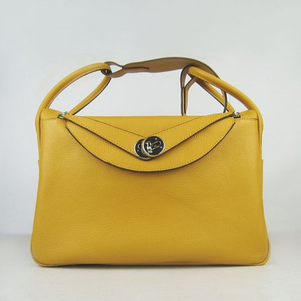 Hermes Handbags Lindy Yellow Cowskin Leather Silver Hardware Bag