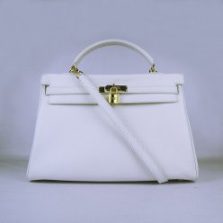 Hermes Handbags Kelly 35 CM White Cowskin Leather Gold Hardware Bag