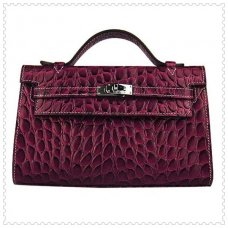 Hermes Handbags Kelly 22CM Crimson Fish Stripe Leather Silver Hardware Bag