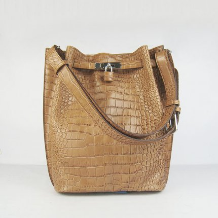 Hermes Handbags Picotin Herpicot Brown Crocodile Leather Silver Hardware Bag