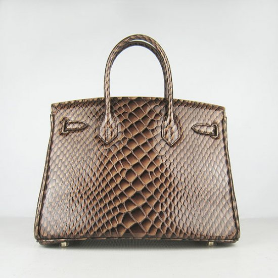 Hermes Handbags Birkin 30 CM Dark Brown Fish Stripe Bag - Click Image to Close