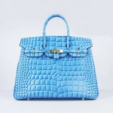 Hermes Handbags Birkin 35 CM Light Blue Crocodile Stripe Bag