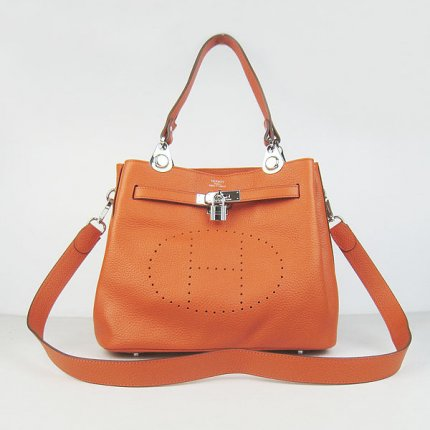 Hermes Handbags Picotin Herpicot Orange Cowskin Leather Silver Hardware Bag