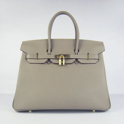 Hermes Handbags Birkin 35 CM Khaki Cow Neck Leather Bag