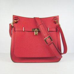 Hermes Handbags Jypsiere Red Cowskin Leather Gold Hardware Bag