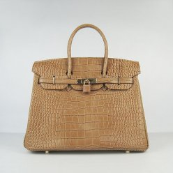 Hermes Handbags Birkin 35 CM Brown Crocodile Bag