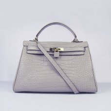 Hermes Handbags Kelly 32 CM Grey Crocodile Leather Gold Hardware Bag