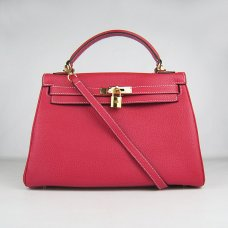 Hermes Handbags Kelly 32 CM Red Lichee Pattern Leather Gold Hardware Bag (with white stitching)