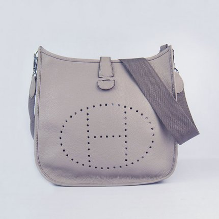 Hermes Handbags Evelyne III Grey Cowskin Leather Silver Hardware Bag