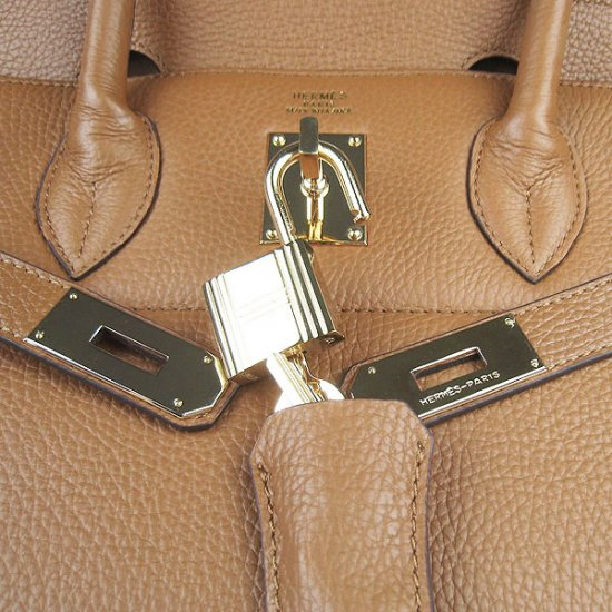 Hermes Handbags Birkin 42 CM Brown Cowhide Leather Gold Hardware Bag - Click Image to Close