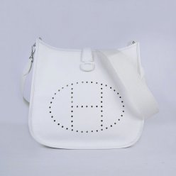Hermes Handbags Evelyne III White Cowskin Leather Silver Hardware Bag