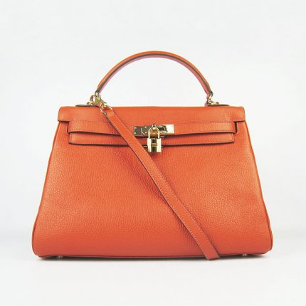 Hermes Handbags Kelly 32 CM Orange Lichee Pattern Leather Gold Hardware Bag