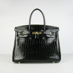 Hermes Handbags Birkin 30 CM Black New Crocodile Veins Bag