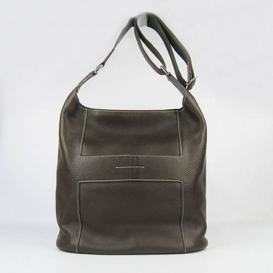 Hermes Handbags Picotin H2801 Dark Brown Cowskin Leather Silver Hardware Bag - Click Image to Close